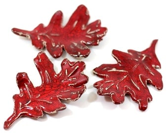 Red leaves Ceramic leaves Fall leaves Thanksgiving decor Autumn leaves