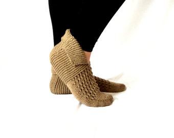 Handknitted ,House Slippers ,Milk Coffee Slippers ,Women Slippers ,Handmade Slippers