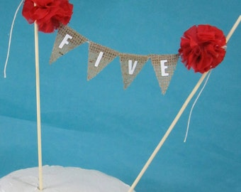 """Burlap Cake banner, smash cake, number cake topper, Red birthday banner, """"Five"""" A183 - birthday bunting cake decoration"""