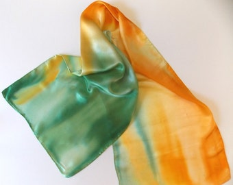 Silk  Scarves, Satin,Hand Designed,Yellow, Spring Green, (Summer Breeze)15x60