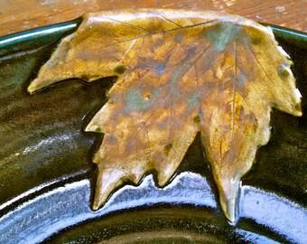 Large Serving Platter, Large Platter, Serving Platter, Maple Leaf, LeConte Creek Glaze - Made To Order