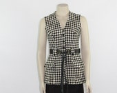 Vintage Vest - 1960's Long Houndstooth Sleeveless Top - 36 / 30 / 38