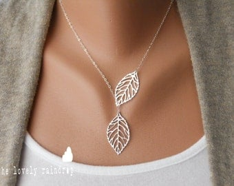 SALE - Leaf Lariat in silver jewelry, modern, dainty, lovely, gift for, christmas, birthday, lariat necklace, Sterling Silver Chain