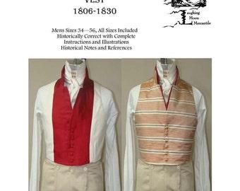 Men's Regency Vest Slip 1806-1830 Size 34-56 Laughing Moon Costume Pattern 123
