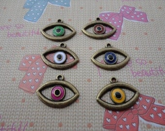 30pcs assorted color eyes Bronze Metal Charms-evil eye charms pendant 16X21mm