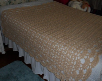 Crocheted Afghan - Blanket - Coverlet - Throw - Bedspread XLarge  ''SHELLS GALORE''  in Soft Tans