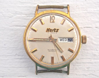 Vintage Men Watch Swiss Made Working Hertz Advertising
