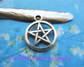 15pcs 21mm tibetan silver star round pendant charms findings