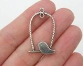 6 Bird perch pendants antique silver tone B41