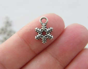 12 Snowflake Christmas charms antique silver tone SF27