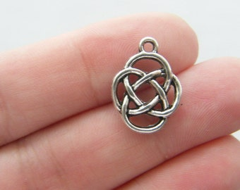 8 Celtic knot charms antique silver tone R37
