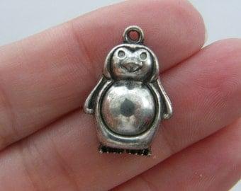 6 Penguin charms tibetan silver A172