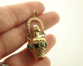 Turquoise & Garnet Perfume Bottle Pendant - 14k Gold - Vintage