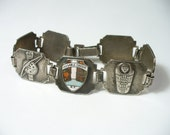 Vintage sterling silver tourist bracelet - Native American motif links - Ausable Chasm N.Y.- 6-3/4 inches