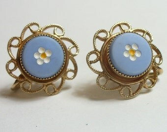 Vintage flowered blue glass gold filled earrings - white & yellow painted - screw back - vintage costume jewelry