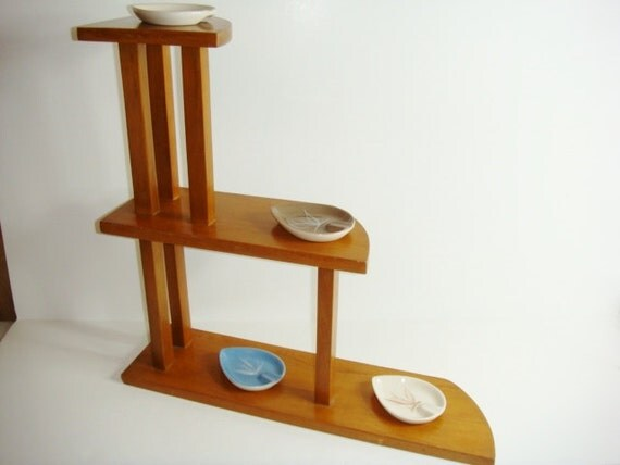 Mid Century Modern Corner Shelf: 3 Tier Shelf Unit Table Top Or Wall Hanging Mid By