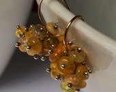 Cutest Cluster Earrings African Opal Tiny Bubble of Gemstones