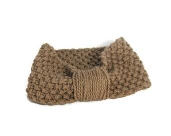 Brown Headband, Ear Warmer, Bulky Headband, Bulky,Knit Headband, Khaki, Tan, Beige,Winter,  Hair Accessory