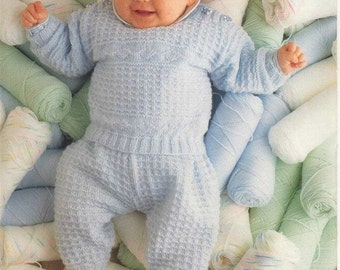 BABY KNITTING PATTERN - Jumper/Sweater with matching leggings/longies - Sizes birth to 12 months