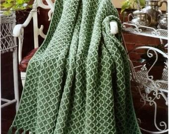 Afghan Crochet Pattern - Trellis Honeycomb Afghan Blanket