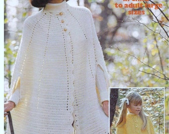 Vintage Crochet PATTERN - Cape - Girls and womens sizes