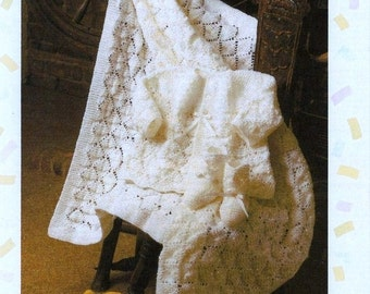 Baby Knitting Pattern - Matinee Jacket and Shawl/Blanket/Afghan and Bootees, Booties Pattern