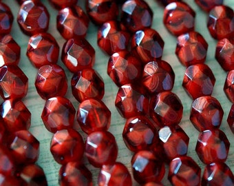 Czech Glass Beads - 6mm Fire Polished Beads - 6mm Dark Red beads - Oxblood - 6mm Garnet Beads - Faceted Rounds - Bead Soup Beads