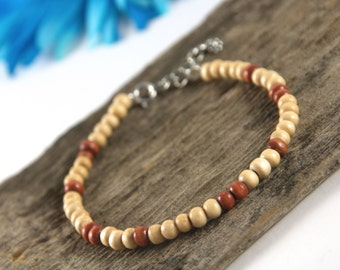 Cream and brown wood bead bracelet, spring clasp