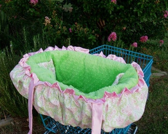 Custom Lime and Pink Paisley/Lime Minky Dot Fancy Shopping Cart Cover
