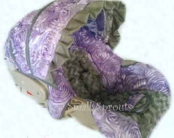 Amelia Lilac 3D Roses/Grey Minky Rosette Infant Car Seat Cover 5 piece set