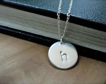 Initial h necklace letter h hand stamped silver disc necklace - lowercase uppercase personalized sterling silver everyday necklace