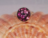 Silver Plated Adjustable Ring With Pink Preciosa Crystals