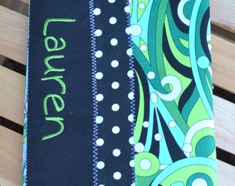 Personalized dots and swirls Composition book covers, Journal cover, Diary cover, sketchbook cover, monogrammed, embroidered, reuseable