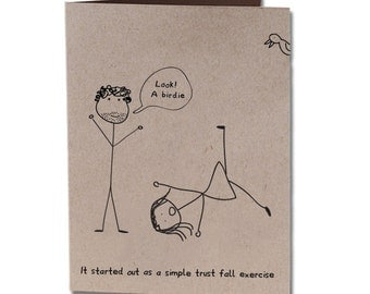 Trust Fall Valentine's Day Humor Greeting Card