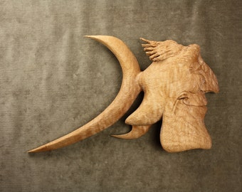 Fun carved fish wood carving deep sea fishing sculpture man gift