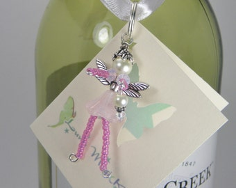 NIKKI Flower Fairy Ornament - Beaded Fairy - Fairy Charm - Wine Bottle Decoration - Faery - Faerie - Pixie - Zipper Pull - Accessory