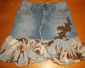 Upcycled Hydraulic  Denim Skirt with Chiffon Ruffles and Accents Size  9/10