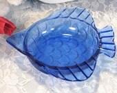 Vintage Scarce Cobalt Blue Depression Glass Fish Dish, Antique 1930s Glass Dinnerware, Kitchen Collectible, Fish Shape Dish