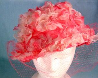 Vintage Pinehurst Fifth Avenue Mays 1950s to 1960s Pink Floral Veil Hat, Original Box, Mid Century Womens Ladies Hat, Vintage Apparel