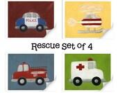 Rescue Series - Set of four 8x10 PRINTS nursery decor - kids - baby - children