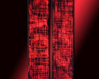 Original Red Abstract painting, Contemporary Multipanel Fine Art by Henry Parsinia Large 36x18