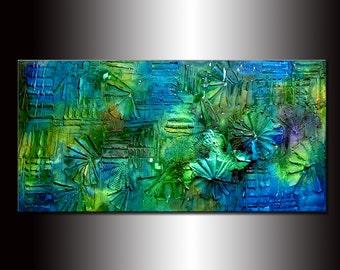 Texture painting ,Original Abstract Modern Art , Blue , Green Contemporary Art By Henry Parsinia 48x24