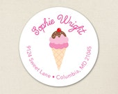 Ice Cream Party - Personalized address labels - Sheet of 24