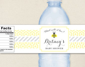 What Will It Bee? Baby Shower - 100% waterproof personalized water bottle labels