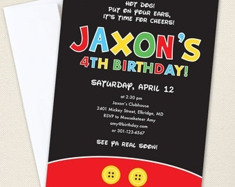 Mickey Mouse Party Invitations - Professionally printed *or* DIY printable