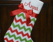 Christmas stocking//Personalized Christmas stocking// Personalized handmade Christmas stocking// chevron print Christmas stocking