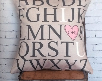 Christmas Gift Pillow Cover ABC Wedding Gift Cotton Anniversary Gift