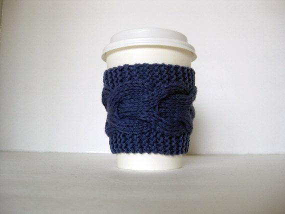 Blue Cup Cozy, Blue Sleeve, Nautical Sea Coffee Tea, Hand Knit Cabled, Teacher College Graduate