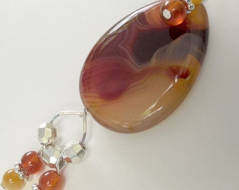 Agate Teardrop Pendant with Agate and Yellow Tigereye Beads and Earrings to match