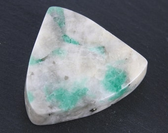 Emerald Crystals In White Quartz Matrix Cabochon
